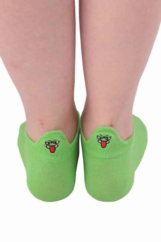 SİMİSSO - Nakış Desenli Kadın Soket Çorap | Neon Yeşil