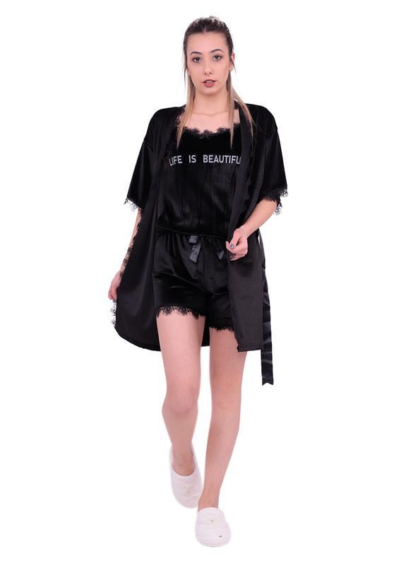 ARCAN - Güpürlü Kadife Şortlu 3'lü Pijama Takımı 10103   Siyah