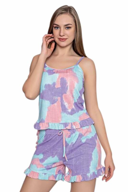 ARCAN - Arcan İp Askılı Desenli Kadın Şortlu Pijama Takımı 80114 | Su Yeşili