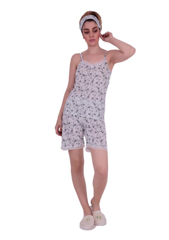 SNC - Snc İp Askılı Dantel Detaylı Desenli Şortlu Pijama Takımı 6040 | Beyaz
