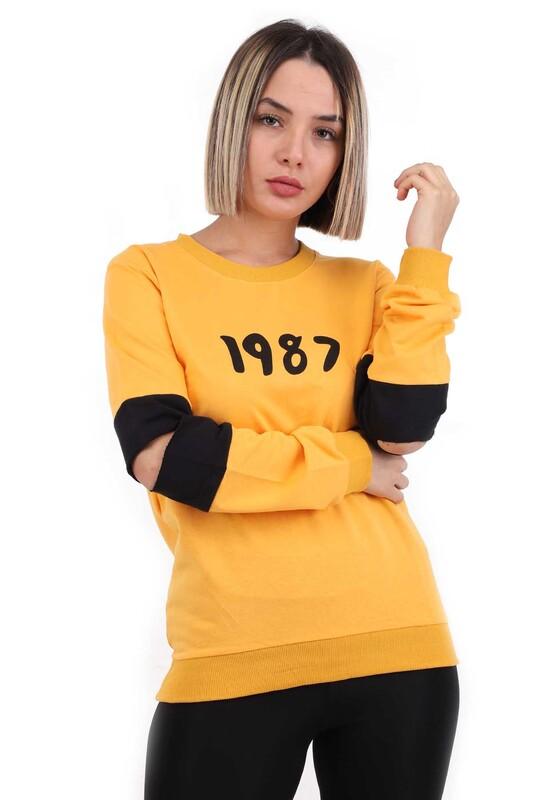 Hostess - Hostes 1987 Baskılı Kadın Sweat 6501 | Sarı