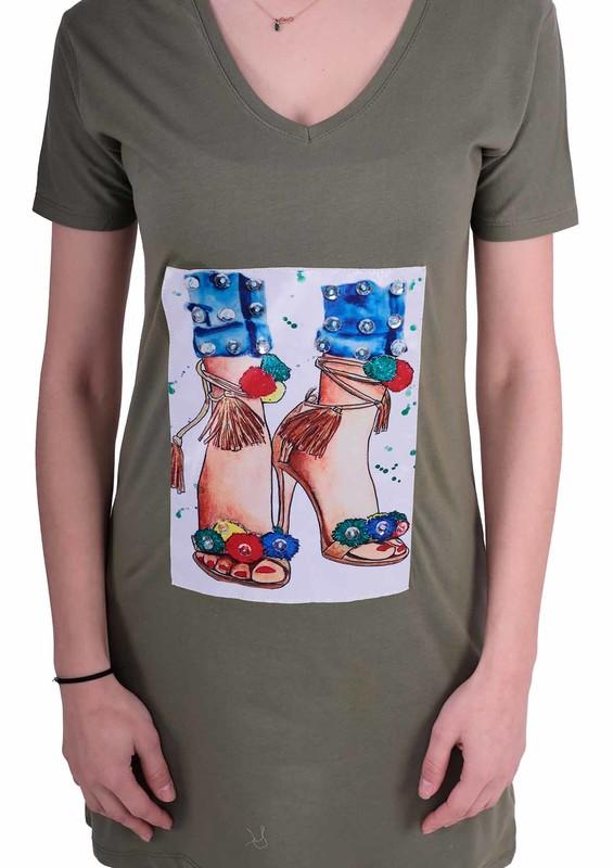 NARSACE - Narsace Baskılı Taşlı Uzun T-shirt 202 | Yeşil