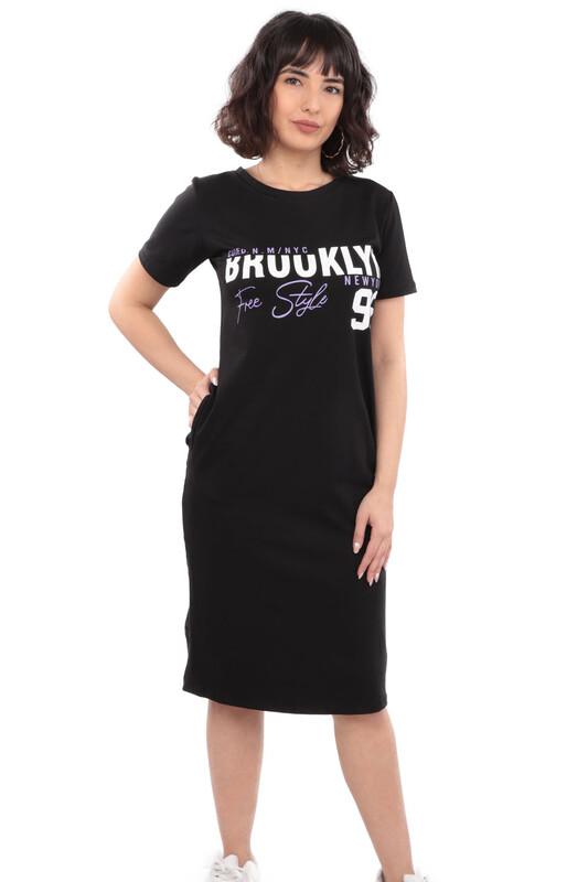 SİMİSSO - Yazı Baskılı Cepli Basic Kadın Elbise | Siyah