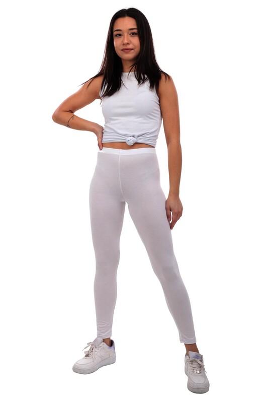 MARY LUX - Mary Lüx Beli Lastikli Düz Beyaz Fitness Tayt 602 | Beyaz