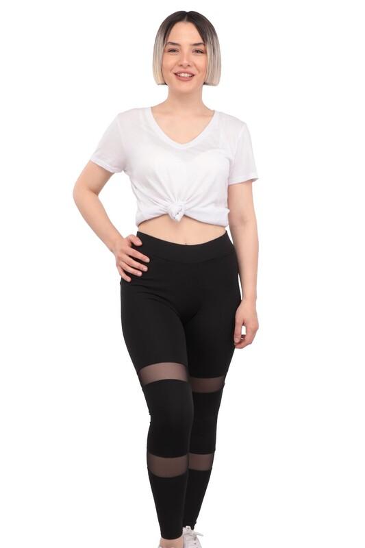 New Model - File Detaylı Kadın Tayt 136 | Siyah