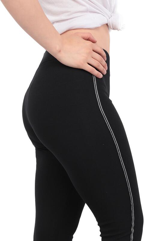 New Model - Yanı Çizgi Şeritli Kadın Tayt 103 | Siyah