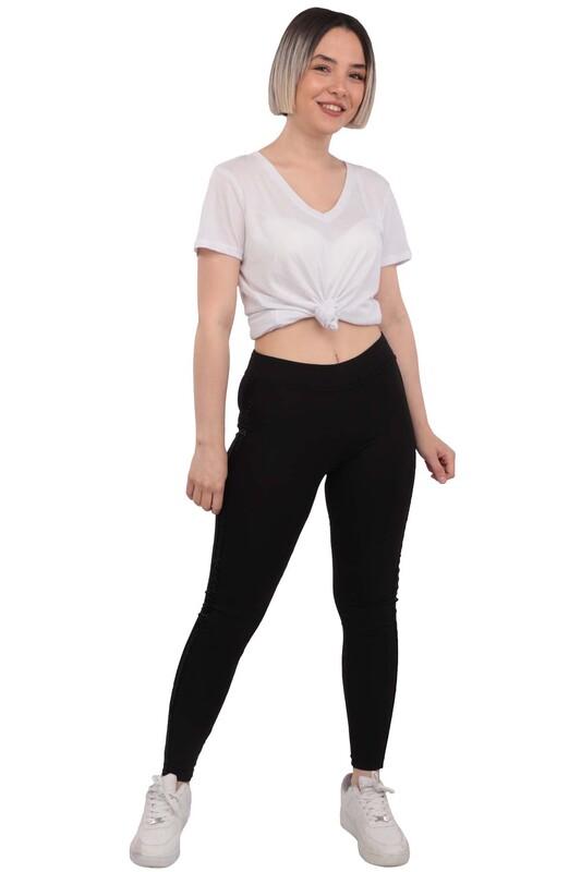 New Model - Yanı Pul Şeritli Kadın Tayt 197 | Siyah