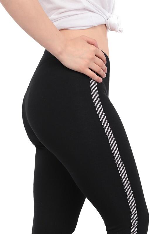 New Model - Yanı Şeritli Kadın Tayt 112 | Siyah