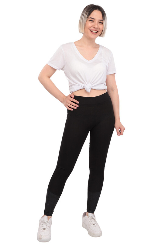 New Model - Deri Detaylı Kadın Tayt 221 | Siyah