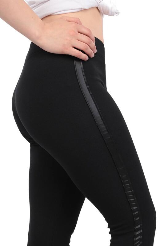 New Model - Yanı Deri Şeritli Kadın Tayt 123 | Siyah