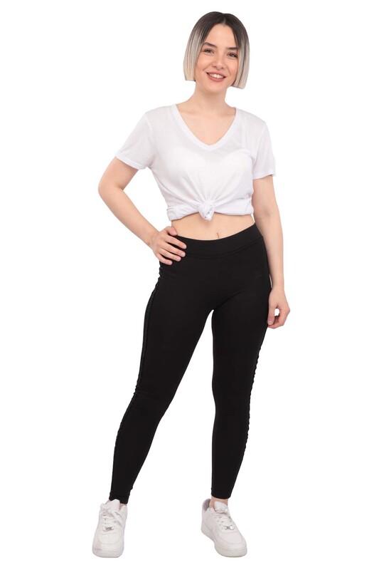 New Model - Yanı Pul Şeritli Kadın Tayt 203 | Siyah