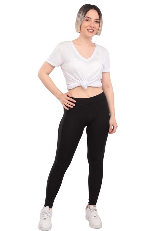 New Model - Yanı Sim Şeritli Kadın Tayt 114 | Siyah