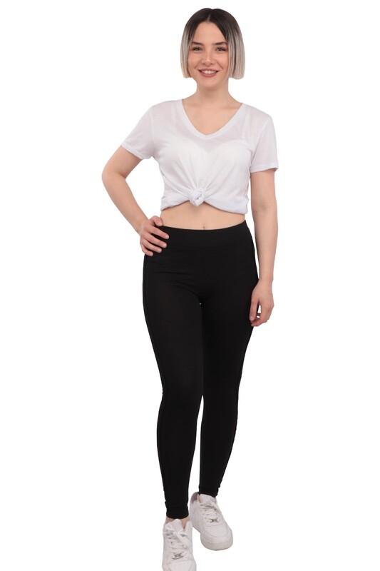 New Model - Yanı Sim Şeritli Kadın Tayt 199 | Siyah