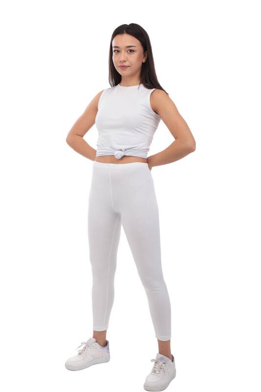 TUTKU - Tutku Düz Uzun Kadın Tayt 173 | Beyaz
