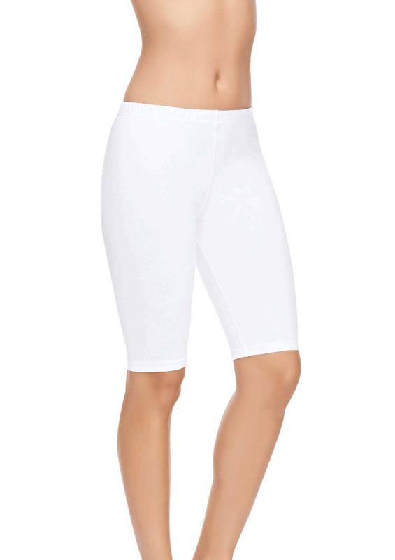 TUTKU ELİT - Tutku Elit Diz Üstü Modal Elastan Kısa Kadın Tayt 2103   Beyaz