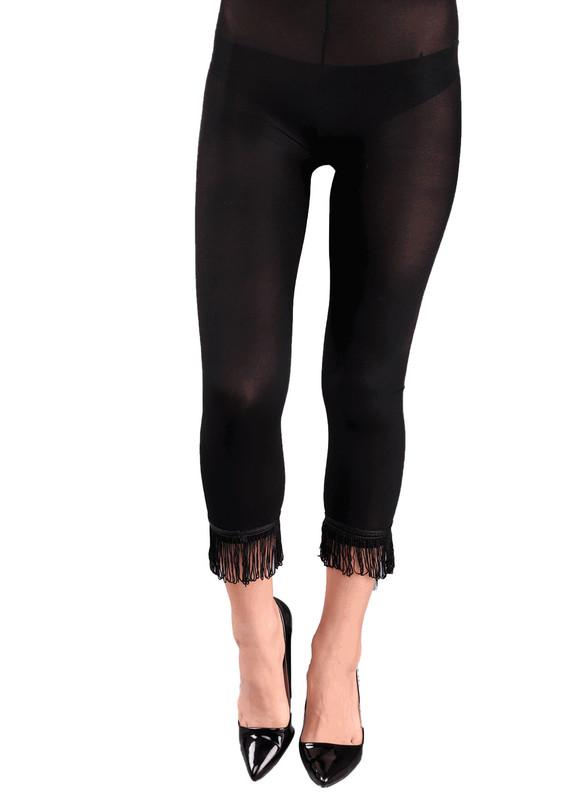 VOG - Paçası Püsküllü Tayt Külotlu Çorap 773   Siyah