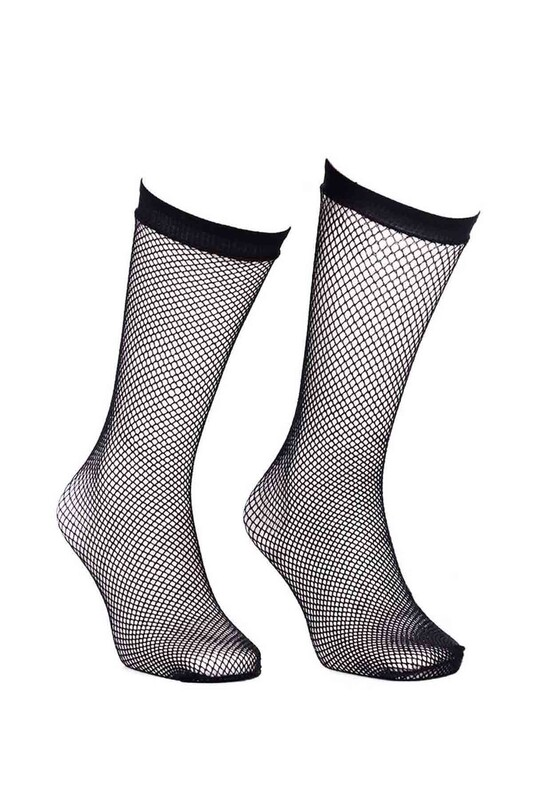 DORE - Dore İnce Delikli File Dizaltı Siyah Çorap 294 | Siyah