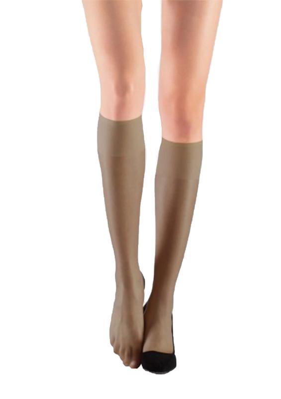 ITALIANA - İtaliana Düz İnce Dizaltı Çorap 9223 | Vizon