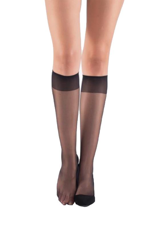 ITALIANA - İtaliana Düz İnce Dizaltı Çorap 9223   Siyah