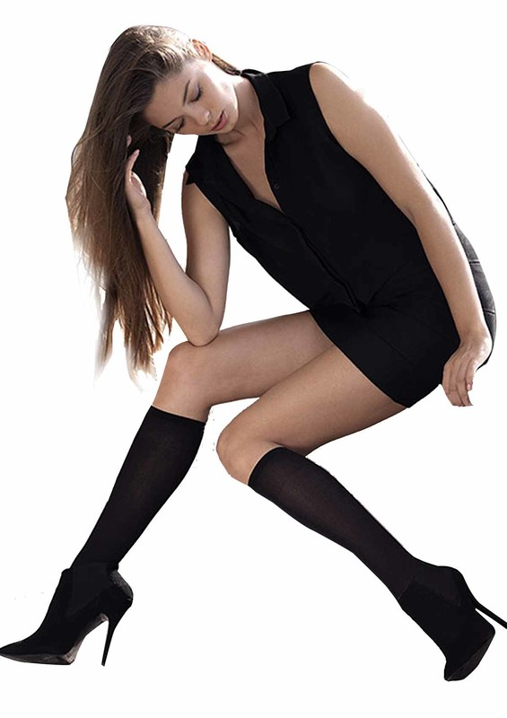 MÜJDE - Müjde Orta Kalın Dizaltı Çorap 40 den 016 | Siyah