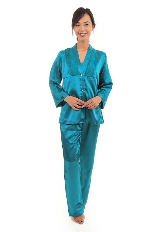 AHU - Yakası Güpürlü Düğmeli Saten Pijama Takımı 5075   Petrol