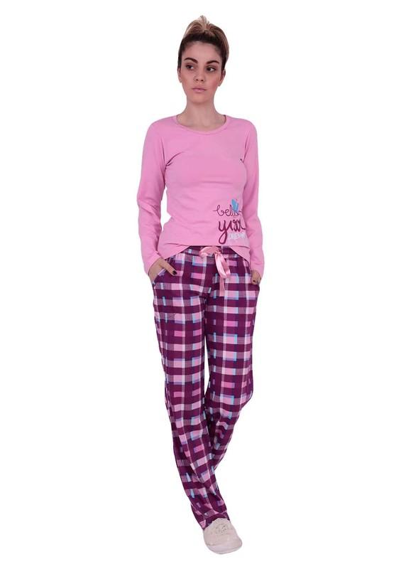 AYDOĞAN - Dar Paçalı Kareli Pijama Takımı 4556 | Pembe