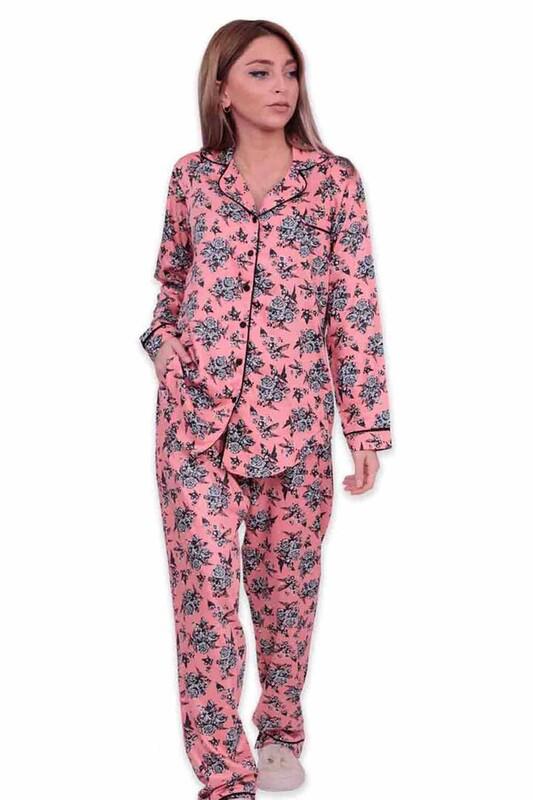 AYDOĞAN - Aydoğan Desenli Poplin Gömlek Kadın Pijama Takımı 14026 | Somon