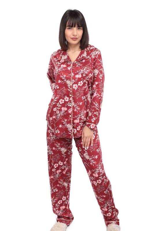 AYDOĞAN - Aydoğan Poplin Uzun Kollu Gömlek Kadın Pijama Takımı 14045 | Kırmızı