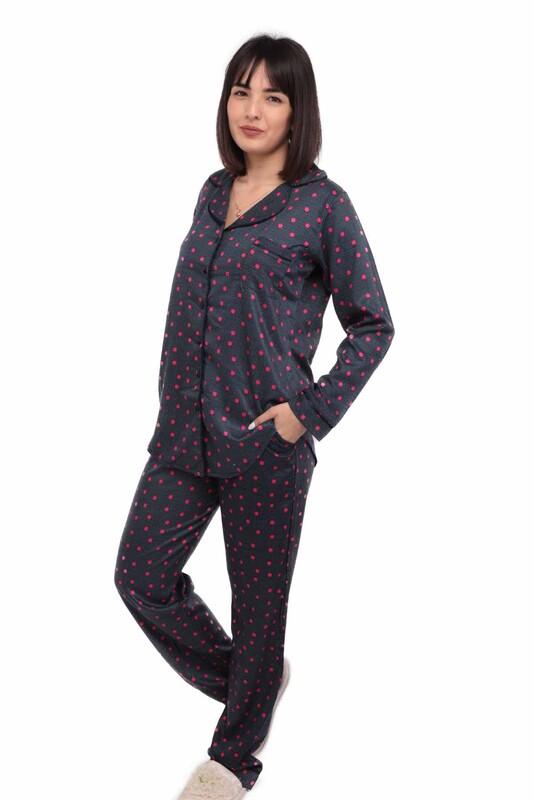 AYDOĞAN - Aydoğan Puantiyeli Poplin Gömlek Kadın Pijama Takımı 14002 | Siyah