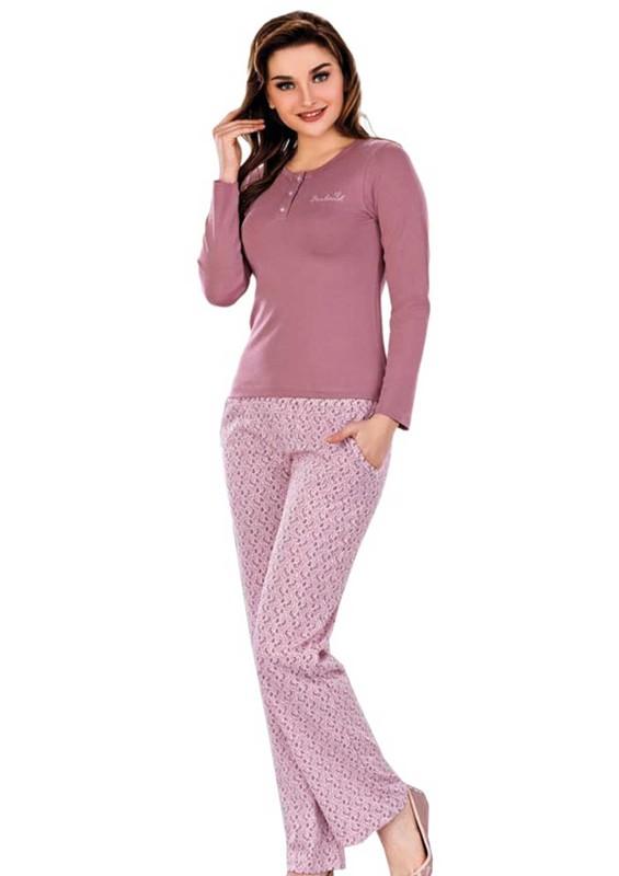 BERLAND - Berland Uzun Kollu Boru Paçalı Desenli Pijama Takımı 3040   Mürdüm