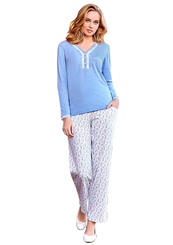 BERRAK - Berrak V Yakalı Düğmeli Desenli Pijama Takımı 435 | Mavi