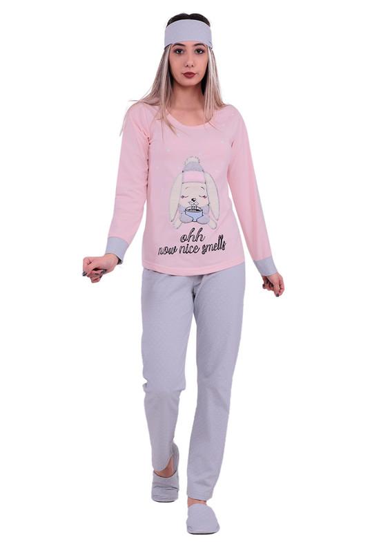 BOYRAZ - Boyraz Tavşanlı Pijama Takımı 4'lü 11150 | Pudra