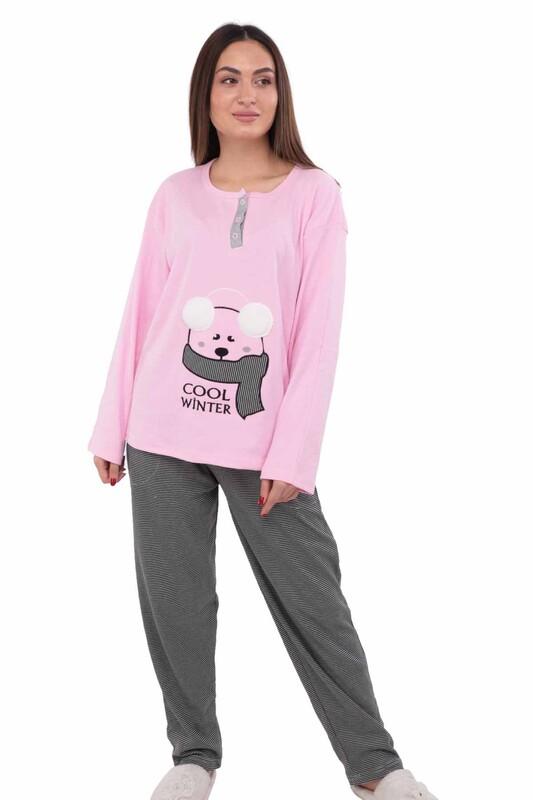 ERCAN - Ayıcık Nakışlı Uzun Kollu Kadın Pijama Takımı 1007 | Pembe