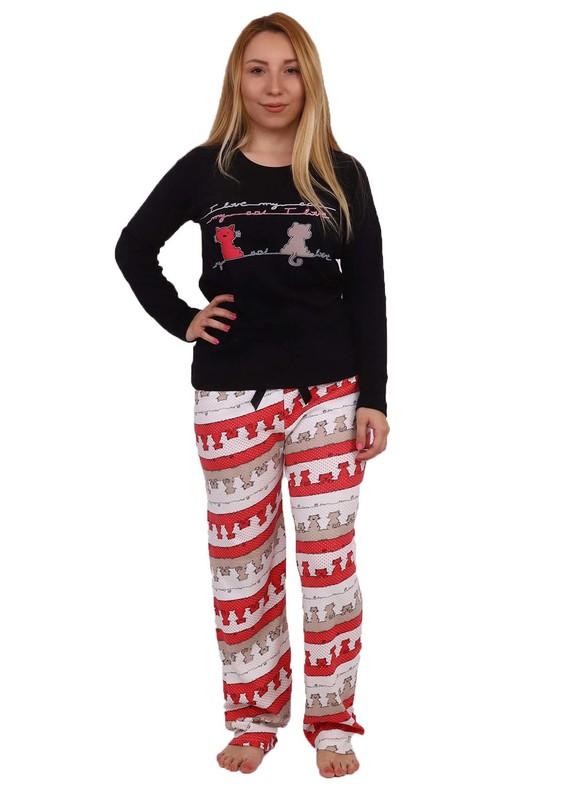 GOOD NIGHT - Good Night Boru Paçalı Desenli Pijama Takımı 1054   Siyah