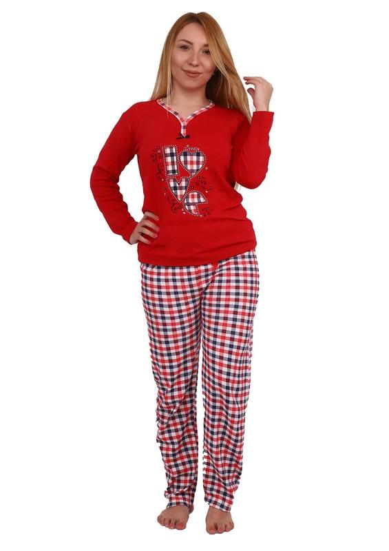 GOOD NIGHT - Good Night V Yakalı Desenli Pijama Takımı 343   Kırmızı