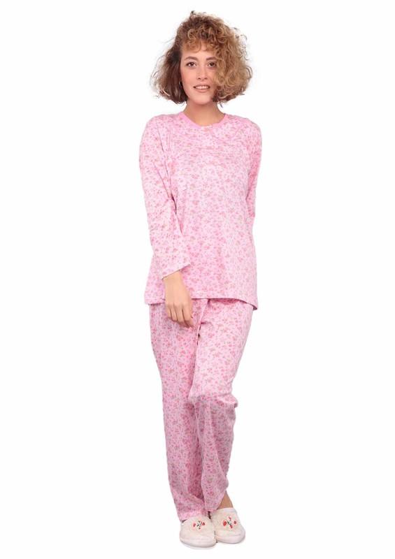 ITAN - İtan Çiçek Desenli Düğme Detaylı Mor Pijama Takımı 494   Pembe