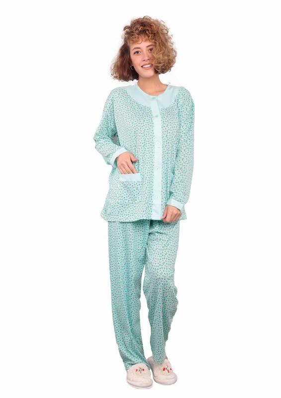 ITAN - İtan Önü Düğmeli Cepli Kelebek Desenli Pijama Takımı 402   Su Yeşili