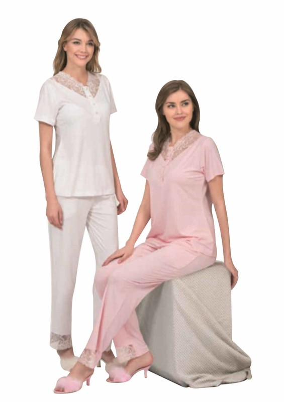 POLEREN - Poleren Yakası Güpürlü Düğmeli Pijama Takımı 5959   Ekru