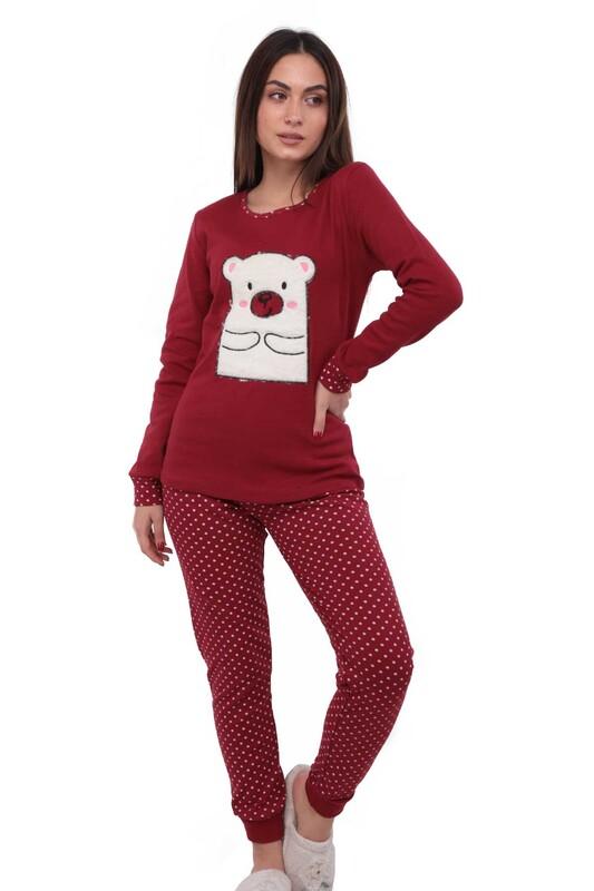 POLKAN - Ayı Desenli Uzun Kollu Kadın Polar Pijama Takımı 5007 | Kırmızı