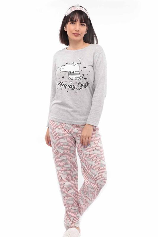 SİMİSSO - Desenli Uyku Gözlüklü Pijama Takımı 32 | Gri