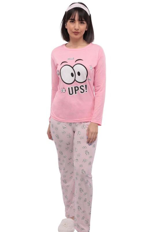 SİMİSSO - Desenli Uyku Gözlüklü Pijama Takımı 35 | Pembe
