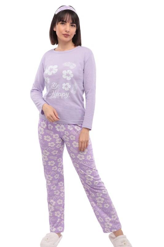 SİMİSSO - Çiçek Desenli Uyku Gözlüklü Pijama Takımı 38 | Mor