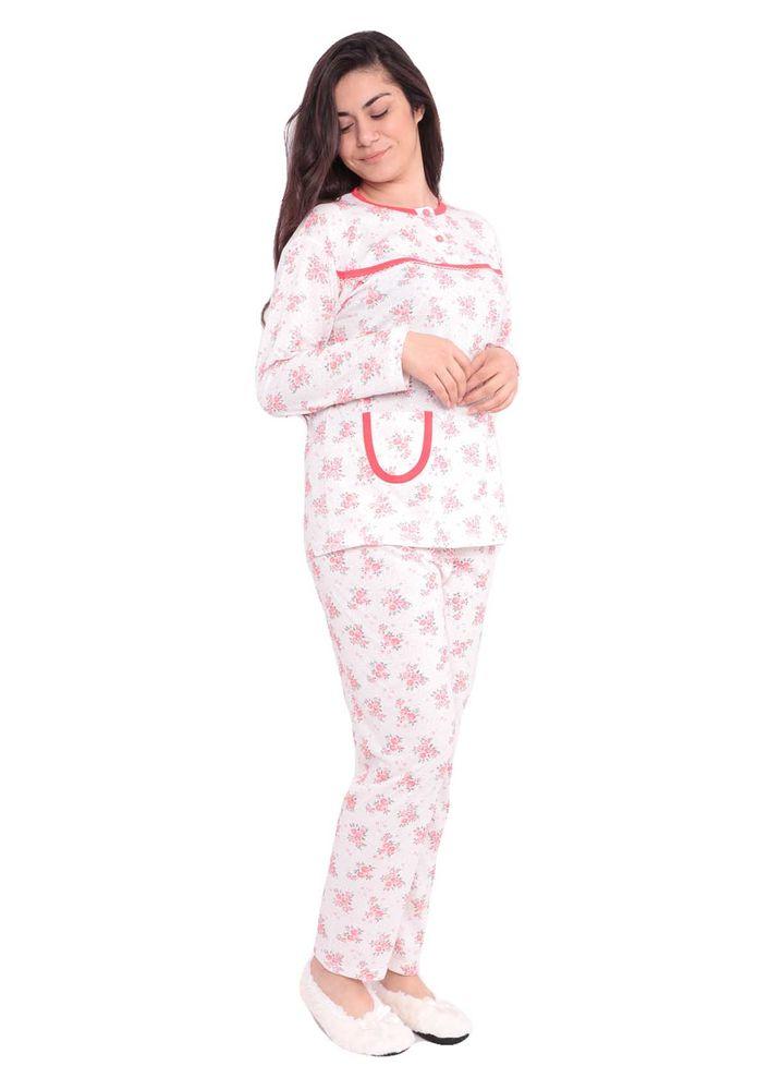 Yenteks Düğme Detaylı Ön Yakası Fırfırlı Desenli Pijama Takımı 558   Nar Çiçeği
