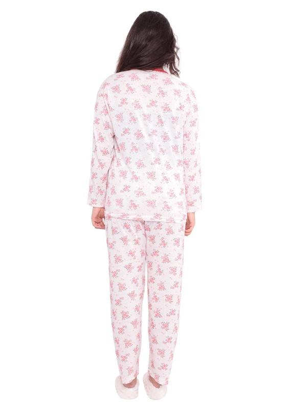 Yenteks Düğme Detaylı Ön Yakası Fırfırlı Desenli Pijama Takımı 558   Nar Çiçeği - Thumbnail