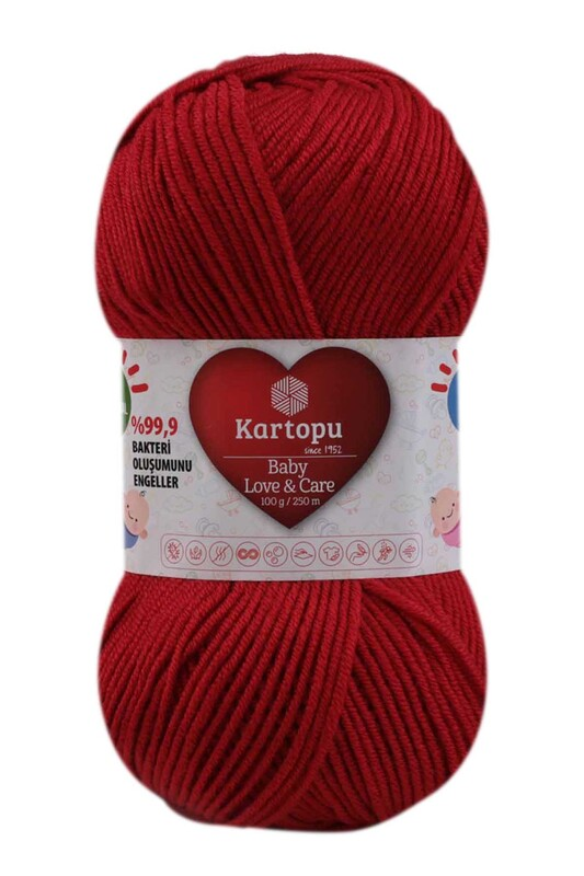 KARTOPU - Kartopu Baby Love & Care El Örgü İpi 100 gr. | Koyu Kırmızı K125