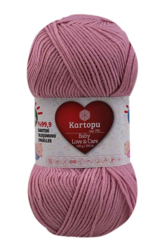 KARTOPU - Kartopu Baby Love & Care El Örgü İpi 100 gr. | Gül Kurusu K1763