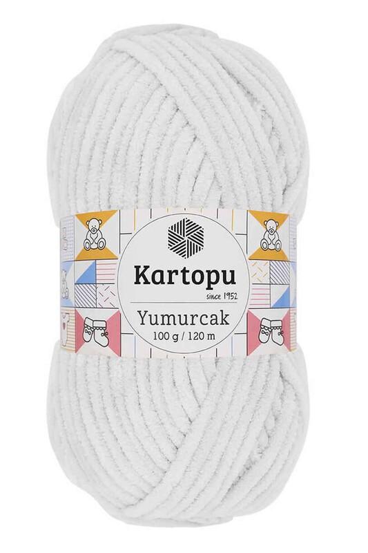 KARTOPU - Kartopu Yumurcak El Örgü İpi 100 Gr Beyaz K010