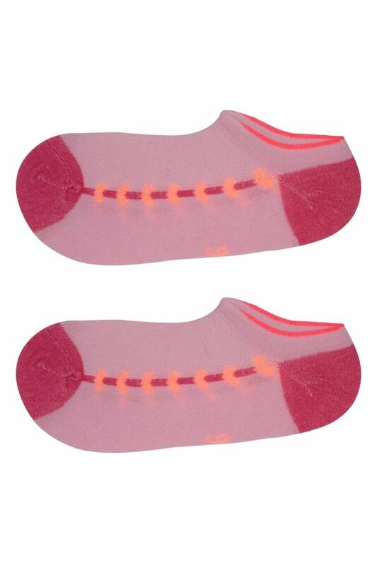 ARC - Kalp Baskılı Kız Çocuk Soket Çorap 309   Pembe
