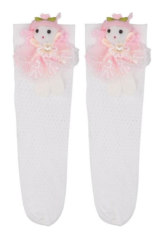 DAYMOD - DayMod Romina Bebekli Kız Çocuk Çorap   Beyaz