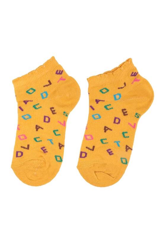 DÜNDAR - Dündar Harf Desenli Kız Çocuk Çorap 2670   Hardal